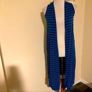 Lularoe Joy Vest Striped Longline Cardigan Blue xs